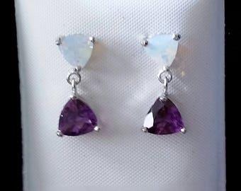 Genuine amethyst stud earrings with created fire opal