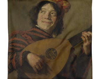 Cushion Cover-The lute player (1623-1624), French neck-square 45 cm