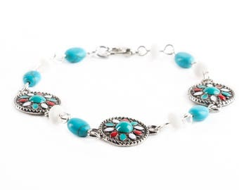 Metal Enamel Glass White Turquoise Stone Beaded Bracelets Jewelry Wire Wrapped With Silver Wire Handmade