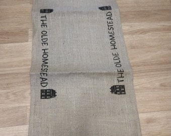 "Burlap ""The Olde Homestead"" table runner   36"" long"