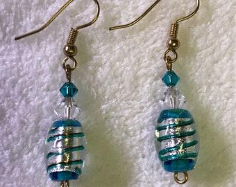 Glass foiled beaded earrings