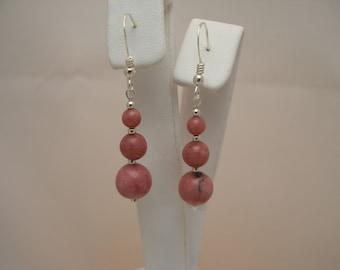 Sterling Silver Rhodonite Earrings