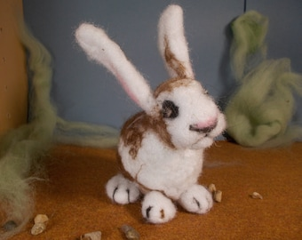 brown and white needle felted rabbit