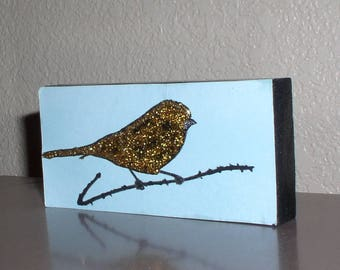 Gold Canary shelf or wall art