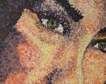 Oil Pointilist Face Painting on Canvas