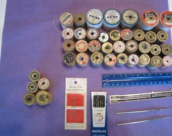 Lot Of 37 Vintage Thread Wooden Spools Clark's, Lily, J & P Coats, Star, Conso, Susan Bats Tools Needles Ruler Great condition