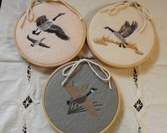 Set of 4 Embroidered Canadian Geese Hoops