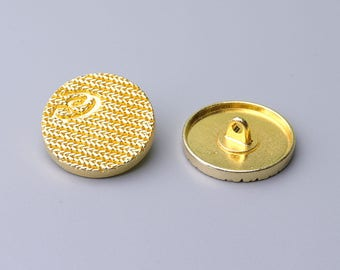 Metal Buttons-10pcs 24mm Round Gold Metal buttons Shank Button Leaf Stripe