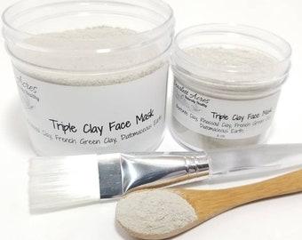 Triple Clay Face Mask, Bentonite Face Mask, Green Clay Face Mask, Rhassoul Clay Face Mask, Hair Mask.