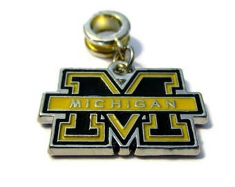 Michigan Wolverines Silver Plated Charm w/ Connector