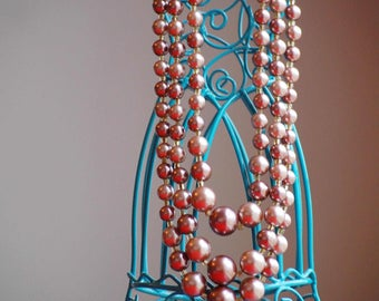 Vintage pink faux pearl 3-strand necklace