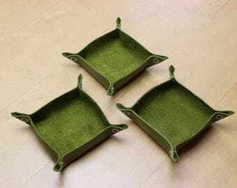 Green Leather Tabletop Token Trays - Set of Three