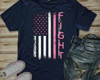 Breast Cancer Fight Flag T-Shirt