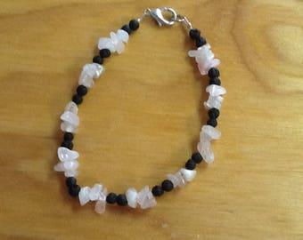 Rose quartz and lava bead bracelet