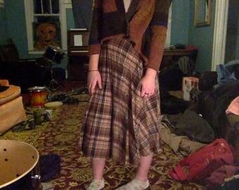 VINTAGE Plaid Maxi Skirt