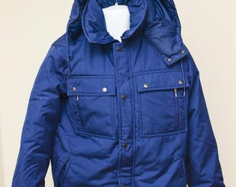 "Large Sears ""Work Leisure"" PARKA Down Navy Blue Jacket"