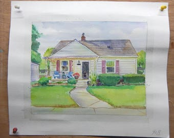 Custom hand painted original watercolor house painting