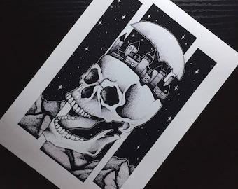 SKULL CITY Blackwork Print
