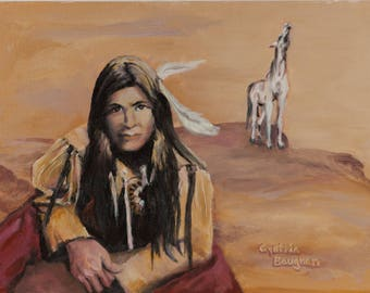 Desert Indian with Horse Giclee Print