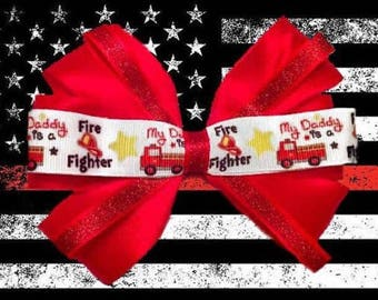 Daddy's a Fireman Hair Bow