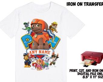 Paw Patrol Personalized Name and Age - Paw Patrol DIY Printable Iron On Transfer - Paw Patrol Printable Birthday Party Shirt Transfer DIY