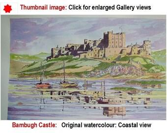 original watercolour painting, Bamburgh Castle landscape, Bamburgh Castle,  Northumberland Coast, heritage architecture,  etsy TyneArt