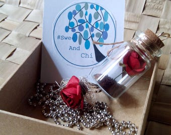 Romantic Rose Bottled Charm Ring and Necklace Set
