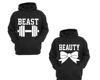 Hoodies for Couples Beast & Beauty Cotton Pullover Hooded Sweatshirt, His and Her Cool Hoodies