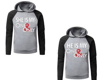 Two Color Hoodies for Couple She Is My One and Only He Is My One and Only Couples Cute Matching Love Couples Goal Gray-Black Raglan Hoodies