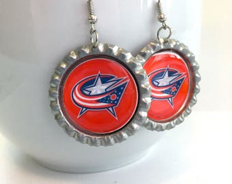 Columbus BLUE JACKETS Handcrafted Hockey Earrings