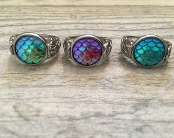 Mermaid Dragon Scale Filigree Cabochon Ring