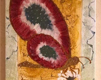Original acrylic painting of a burgundy and green butterfly