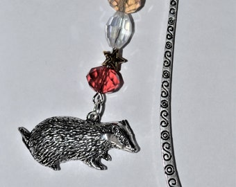 Badger Bead Bookmark in English Pewter and Gift Boxed, Animal, Countryside, Wildlife