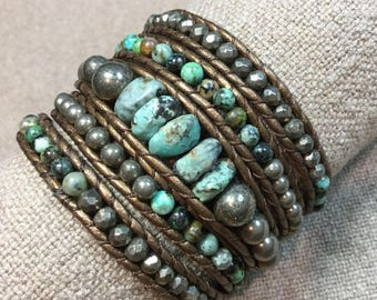 Leather Wrap Bracelet: 5X Turquoise and Pyrite