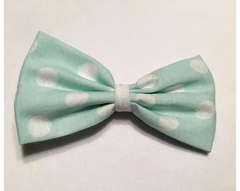 Pastel Blue Polka Dot Hairbow, Hairbow, Spring Time Hairbow, Easter Hairbow, Polka Dot Hairbow, Bows, Bowtie, SozBows