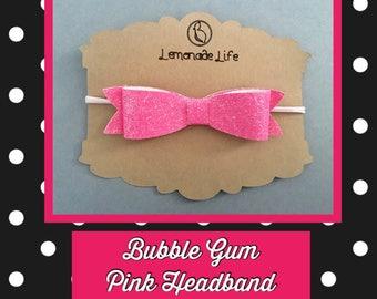 Bubble gum pink bow headband
