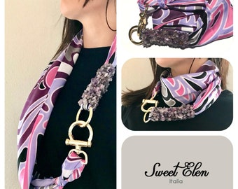 Jewel scarf, jewel, scarf, gift for her, special gift for her