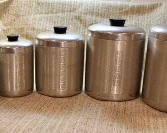 Canisters, Spun or brushed aluminum set of 5, 1950's