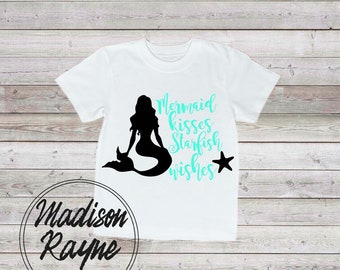 Mermaid Kisses in Blue, Nautical, Boys, Girls, Gift, Nautical Kids Clothing, Kids Clothes, Childrens Clothes