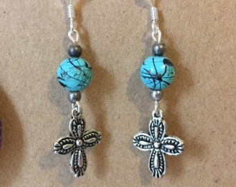 Bead Cross Fishhook earrings