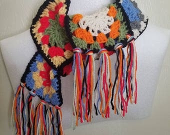 Grannie Square Crochet Scarf With Fringe
