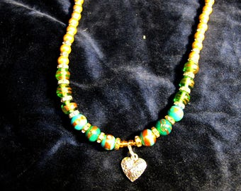Heart Pendant and faux diamonds