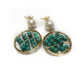 Handmade Earrings made with Turquoise, Cultured Pearl and Gold Filled