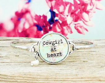 Cowgirl at Heart Silver-tone bangle beacelet-Cowgirl Bangle -  Charm Bangle - Cowgirl Bracelet- Cowgirl at Heart