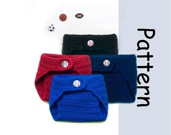 Baby BASEBALL PATTERN PDF Crochet Diaper Cover Pattern, Baseball Baby Diaper Cover, Baby Boy Baseball Knit Diaper Cover Baby Boy Clothes