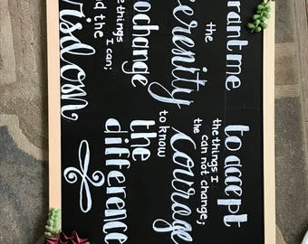Serenity Prayer Chalkboard Sign with Succulents