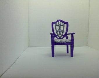 Elegant Princess Purple & Silver Ornate Arm Chair