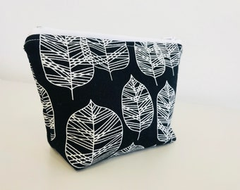 Black and White Leaves Pouch | Essential Oil Pouch | Hugs and Kisses, Xs and Os
