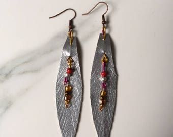 Bead and feather earrings