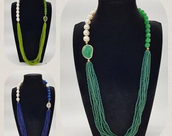 Crystal Pearl gemstone Necklace